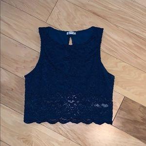 Intimately Navy Blue Lace Crop Top PeepHole Back